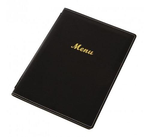 Porte-menus en simili cuir noir - Olympia - Format A4 -