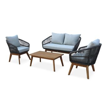 Salon de jardin 4 places – ROSARIO – en corde tressée, bois et ...