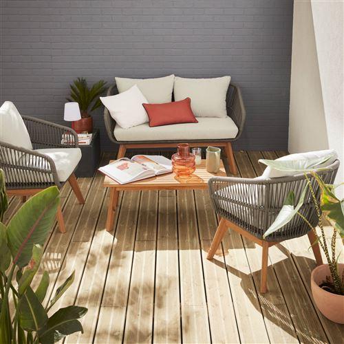 Salon de jardin 4 places – ROSARIO – en corde tressée, bois ...