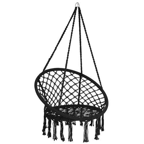 hamac suspendue giantex noir fauteuil relax de jardin avec 1 place capacité 150kg en coton avec des franges romantiques pour balcon