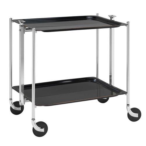 Table roulante pliable - 2 plateaux - Noir