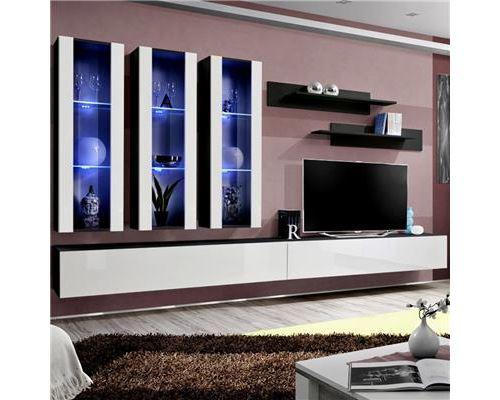 Ensemble meuble TV blanc et noir PIAZZA - L 320 x P 40 x H 190 cm