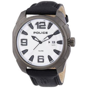 nouveau produit 8fc79 6606b POLICE - P13836JSU-04 - Montre Homme - Quartz Analogique - Bracelet Cuir  Noir