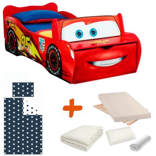 Pack complet Premium Lit Flash McQueen = Lit + Matelas & Parure + Couette + Oreiller Cars Disney