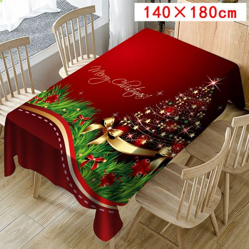 Nappe de Noël Imprimer Rectangle Table Cover Holiday Party Home Decor_Kiliaadk442