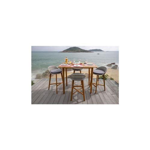 Ensemble Repas De Jardin Type Bar - Table 135x80cm - En Bois Et Resine Tressee - 4 Places