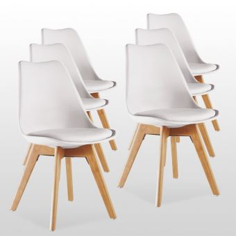 Lot De 6 Chaises Scandinaves Blanches Lorenzo