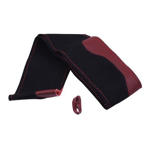 La Couverture De Volant De Voiture Bricolage Avec Des Aiguilles Et Du Fil Noir Cuir Rouge PU