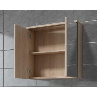 meuble miroir 60x59 cm toledo chne clair sonoma miroir armoire miroir salle de bains verre armoire de rangement installations salles de bain achat - Armoire Miroir Salle De Bain