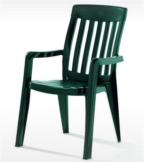 Fauteuil empilable de jardin en résine de synthèse, vert - 65 x 59 x 92 cm -PEGANE-