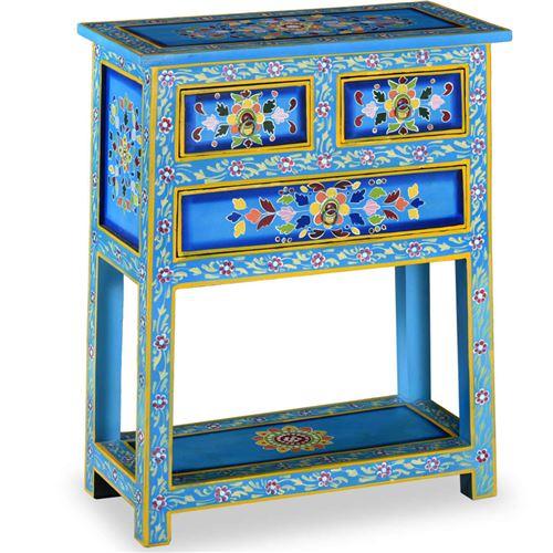 Chunhe Buffet avec tiroirs Bois massif de manguier Peinture turquoise AB244840