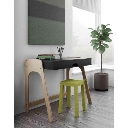 Bureau 1 étagère en bois noir et imitation chêne clair - BU0001