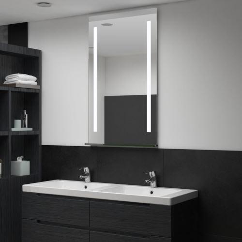 Miroir mural à LED pour salle de bains avec étagère 60x100 cm