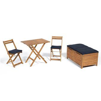 Salon de jardin en acacia FSC : 2 chaises pliantes + 1 banc coffre + ...