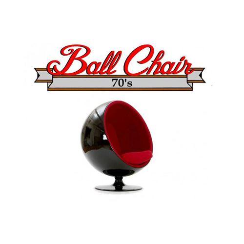 Fauteuil boule, Ball chair coque noir / intérieur feutrine rouge. Design 70's.