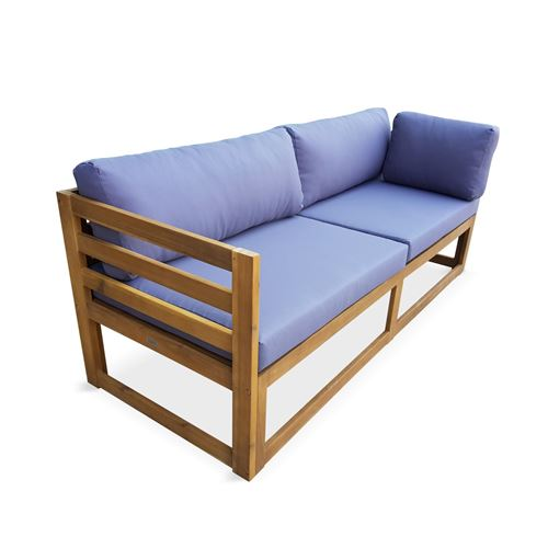 Salon de jardin d'angle en bois 5 places – Rafaela – Coussins gris, canapé  d'angle et repose-pieds en acacia, 3 éléments