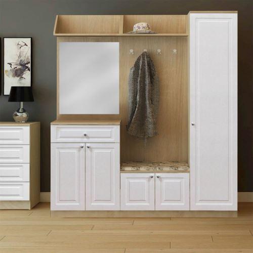 HOMEMANIA Meuble d'Entrée Decoration - Armoire, porte-manteau - avec miroir, portes, étagère - Chêne, Blanc en Bois, MDF, 175 x 36 x 194 cm