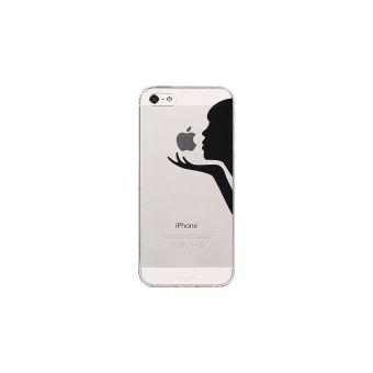 Peach Coque iPhone 5 5S SE en silicone souple Transparent avec motif ultra resistant