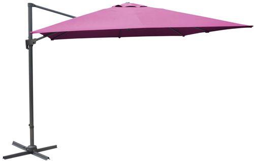 Proloisirs - Parasol déporté carré 3 mètres Framboise