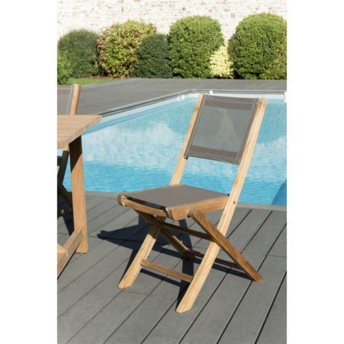 Lot de 2 chaises pliantes textilène couleur taupe en bois teck grade A
