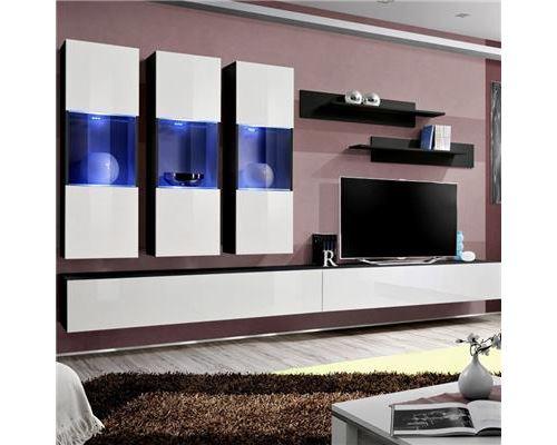 Meuble tele suspendu blanc et noir ARDARA - L 320 x P 40 x H 190 cm