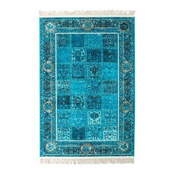 Tapis Avec Franges Turquoise Style Orient Vizca Achat Prix Fnac