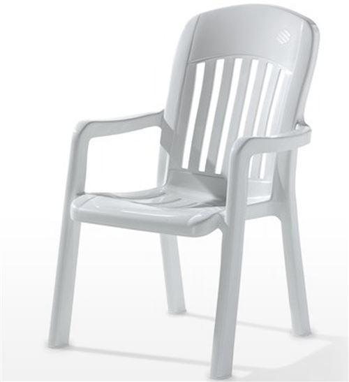 Fauteuil empilable de jardin en résine de synthèse, blanc - 70 x 64 x 96 cm -PEGANE-