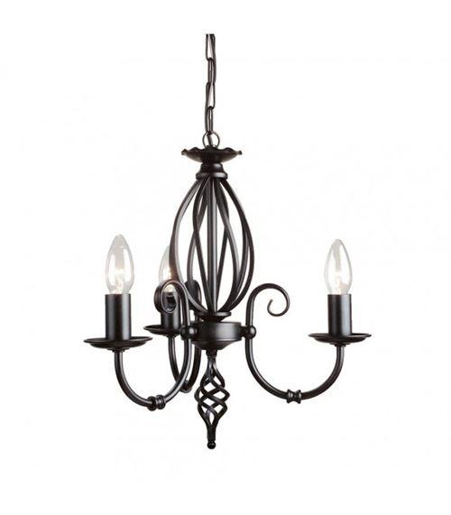 Suspension Artisan, noir, 3 ampoules
