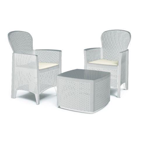 Set Salon en résine rotin table basse fauteuils coussins blanc TREC08BI