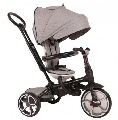 QPlay Prime 4-in-1 driewieler Tricycle Enfant 8 Pouce Junior Gris/Noir