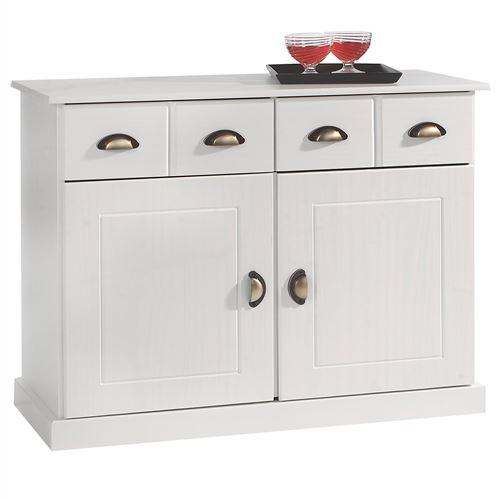 Buffet PARIS commode bahut vaisselier avec 2 portes battantes et 2 tiroirs pin massif lasuré blanc