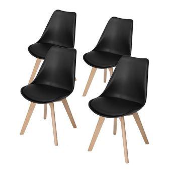 Lot de 4 chaises style scandinave Catherina Noir Achat