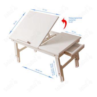 Sobuy Table De Lit Pliable Pc Portable Lecture 2 Plateaux Bois