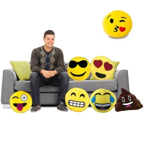 Coussin Emoticone Smiley Bisous Jaune Achat Prix Fnac