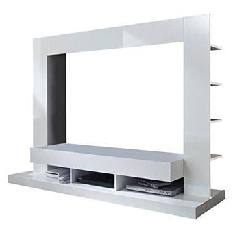 Tt05 Meuble Tv Mural Avec éclairage Led Contemporain Blanc Mat Et
