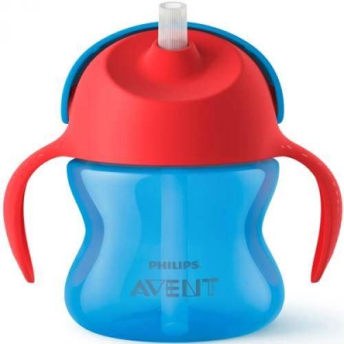 Tasse à paille bleu 200 ml - philips avent