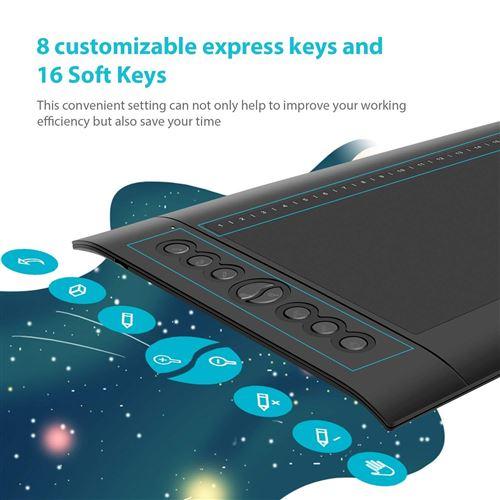 Tablette Graphique Huion H610 Pro V2 Améliorée Avec Stylet Sans Pile -  Supportant à Android/Windows - 8192 Niveaux de pression