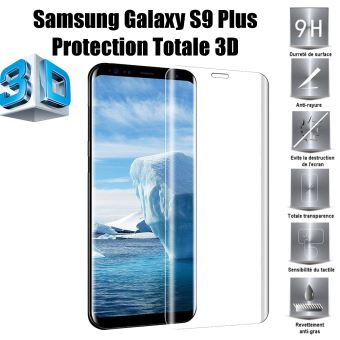 08d749b337cd58 Pour Samsung Galaxy S9 Plus Vitre protection d ecran en verre trempé  incassable protection integrale Full 3D Tempered Glass - Advansia - Protection  écran ...