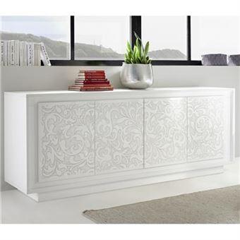 bahut blanc laqué mat avec motifs fleurs FANTINE