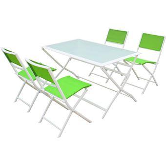 salon de jardin repas en textilène bistro xl - phoenix - vert