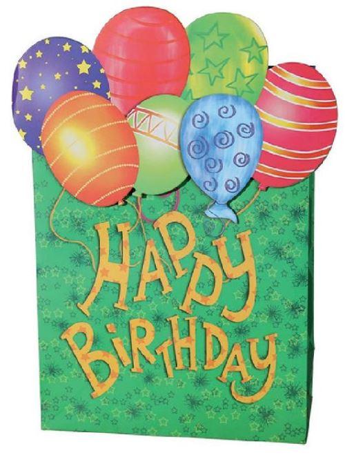 Sac cadeau anniversaire vert en papier 26 x 10 x 32 cm
