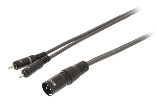 Sweex SWOP15200E30 XLR Câble stéréo XLR 3 broches mâle - 2x RCA mâle 3.0 m gris foncé