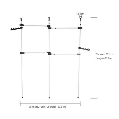 Garde-robe Télescopique Séchoir à Linge Porte-Vêtement avec Crochets Étendoir Télescopique Intérieur Hauteur Réglable 281-32