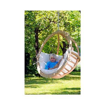 fauteuil suspendu en bois pica fsc coussin dhoussable dextrieur grand confort blanc nature l 121 cm x l 118 cm x h 69 cm mobilier de jardin achat - Fauteuil Suspendu Exterieur