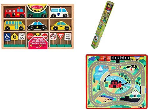Melissa Doug Round The Town Road Rug, Vehicles Traffic Signs Set Vehicle