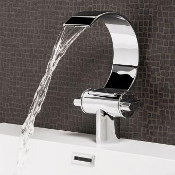 Robinet de Lavabo Oregon Mitigeur Pour Vasque Robinet Mitigeur Design Laqué  Chromé En Laiton Robinetterie Salle de Bains Chute d\'eau