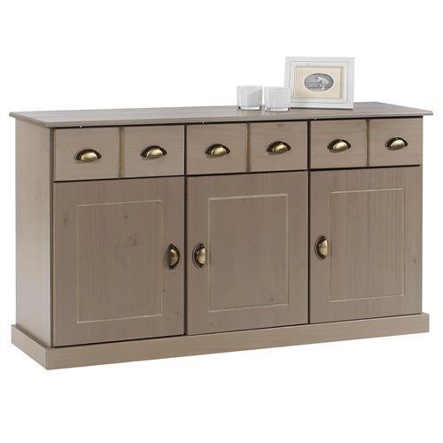 Buffet PARIS commode bahut vaisselier avec 3 portes battantes et 3 tiroirs pin massif lasuré taupe