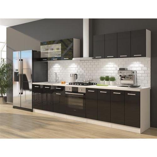 ULTRA Cuisine complete avec meuble four et plan de travail inclus L 300 cm - Noir brillant