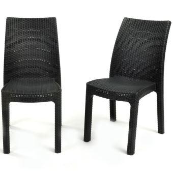 Keter 2x Chaises de Jardin Toscana Graphite Meuble de Terrasse Patio ...