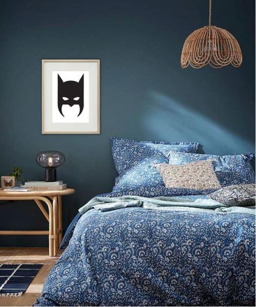 Cadre Photo Batman Tete 30x40cm avec Passe Partout Tableau Bois Verre (CHENE CLAIR)